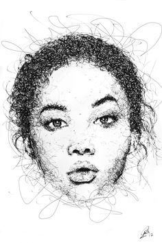 527153052ce33 Ashley Moore Scribble portrait by Gus Romano. Sketch with black pen and ink.  Artwork