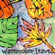 Create these pretty fall leaves with a pencil, glue, some black paint, liquid watercolors and table salt.  Here's how: with a pencil draw your favorite fall leaves onto a piece of watercolor paper. Mix a couple tablespoons of black tempera paint or India