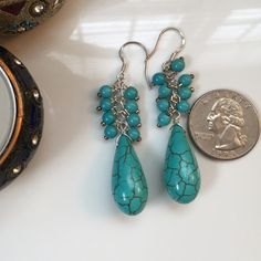 """HPNWOT Turquoise Earrings 925 Silver Hook HOST PICK 8/2 for the Classic & Cool Party!   New Without Tags. Green Turquoise Earrings with 925 Silver Hook. Round & Teardrop green turquoise, good quality, high luster. 4mm (round turquoise) 12x22 (teardrop turquoise). Turquoise pattern may vary slightly from picture since each pair is unique.  1.4"""" long earrings. No Trades & No PayPalPLEASE DO NOT PURCHASE THIS LISTING, COMMENT AND I WILL MAKE A SEPARATE LISTING TO BUY Price is firm, not eligible…"""