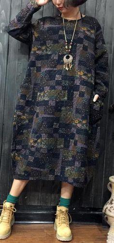 vintage gray blue prints cotton shift dresses plus size traveling clothing boutique patchwork o neck knee dresses#cottondress#cotton#vintage#omychic