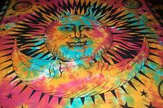 Sun Moon Indian Hippie Tapestry Indian Wall Hanging PsychedelicTie Dye Tapestry #Handmade