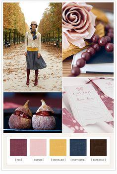 Fig, Blush, Mustard, Suit Blue, Espresso   Color board / Color Palette / Color Combo