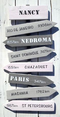panneau de direction personnalisable avec flèches en bois de palette : Décorations murales par littlepalette