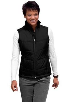Port Authority Ladies Polyester Shell Puffy Zipper Vest blackblack XLarge -- More info could be found at the image url.