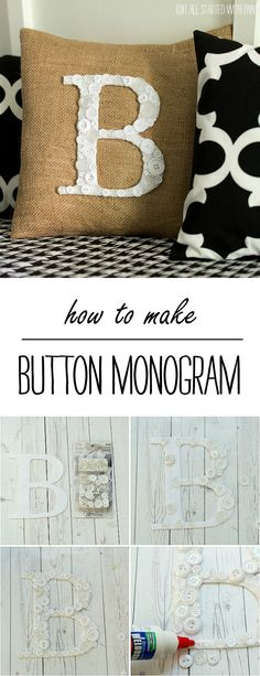 Button Monogram Pillow - It All Started With Paint