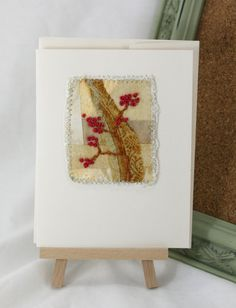 Greeting Card, Mixed media quilted greeting card, fabric and hand embroidered