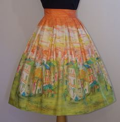 RESERVED.....1950s Novelty Print Skirt  by RainbowValleyVintage, £55.00