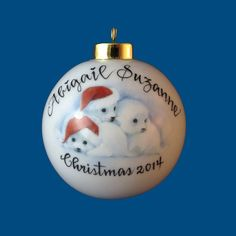 Personalized Hand Painted Christmas Ornament with Baby Seals