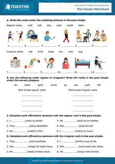 Past Simple Affirmative Negative Games Activities ESL Worksheets English Writing Skills, English Lessons, Teaching English, Learn English, Grammar Activities, English Activities, Simple Past Tense Worksheet, Family Worksheet, Simple Present Tense