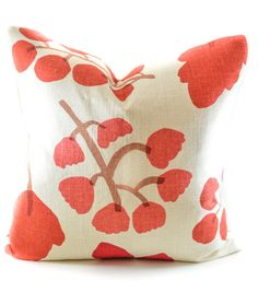Graphic red floral pillow cover decorator fabric by InkandLinenCo