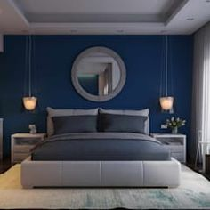 Bedroom design ideas, inspiration & pictures l homify La Nouva Residence: modern Bedroom by Ori – Architects Bedroom Wall Colors, Bedroom Color Schemes, Room Ideas Bedroom, Home Decor Bedroom, Modern Bedroom, Square Bedroom Ideas, Colour Schemes, Blue Master Bedroom, Navy Blue Bedrooms