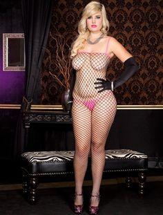 Plus Size Black Diamond Net Bodystocking With Pink Trim