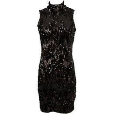 Motel Zabby Anne Wild Sequin and Velvet Dress in Black ($84) ❤ liked on Polyvore