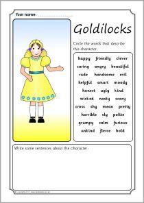Goldilocks character description writing frames (SB4015) - SparkleBox ...