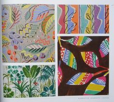 Collier Campbell Dancing leaves, Garden stripe, Tropical and Patterned leaves Textile Design, Fabric Design, Sarah Campbell, Paint Drop, Surface Design, Archive, Tropical, Quilts, Fall
