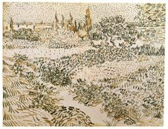 1888 Garden with Flowers pen & ink 24 x 31.5 cm - Vincent van Gogh.