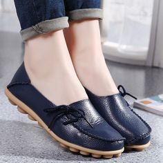 Hot Sale Leather Beanie Women Shoes Fashion Summer Spring Autumn Slip-on Knot Non-slip Womens Women Ladies Soft Loafers Flats