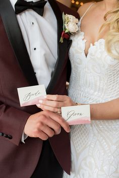 http://Bride%20and%20Groom%20Watercolor%20Placecards%20for%20Romantic%20Valentines%20Wedding