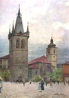 Vaclav Jansa Kostel sv. Jindřicha. Okolo se dříve rozprostíral jeden z největších hřbitovů v Praze, se zvonicí (dochovanou) a kostnicí. Po zrušení byly mnohé náhrobky použity jako dlažba. Zvonice byla vystavěna z důvodu špatného založení kostelní věže, jež tak nebyla způsobilá k zavěšení velkých zvonů.