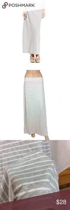 Sale! Tommy Hilfiger striped maxi skirt Like new! Tommy Hilfiger striped maxi skirt size L - fits true to size had to clip (sandwich clip) the skirt to the mannequin as it wouldn't stay up but does fit true to size absolutely no signs of wear in any sense not sheer floor length maxi heather grey and white striped stretchy, soft cotton blend material Tommy Hilfiger Skirts Maxi