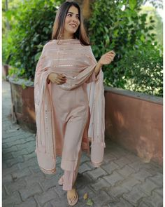 Shop online Nude Pink Gota Work Kurta Set - Set of Three Nude pink cotton silk kurta set with detailing on the sleeves and base of kurta. The set includes the cotton gota work dupatta. Dress Indian Style, Indian Wear, Indian Outfits, Pakistani Dresses Casual, Pakistani Dress Design, Pink Suits Women, Indian Fashion Trends, Casual Indian Fashion, Diy Fashion