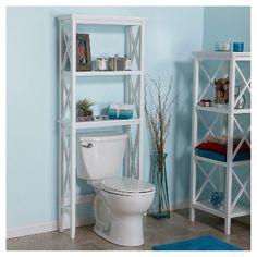 X-Frame Over Toilet Space Saver Étagère White - RiverRidge Toilet Shelves, Storage Spaces, Bathroom Space Saver, Bathroom Storage, Bathroom Space, Shelves, Bathroom Design, Over Toilet, Toilet Storage