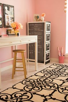 How cute is this DIY file cabinet makeover? Diy File Cabinet, Small Craft Rooms, Craft Space, Pink Office, Office Space Design, Pink Home Decor, Cabinet Makeover, Diy Furniture, Office Furniture