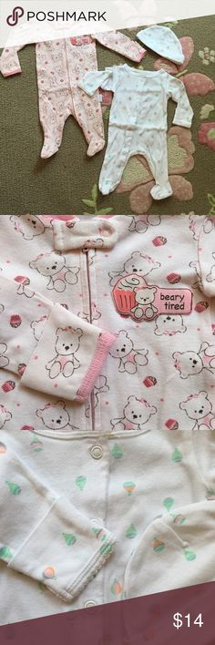 👌🏻👾Host Pick👾👌🏻Bundle of 3x cute baby items! 2x Super cute footed baby coveralls+ one baby hat! Beautiful patterns, nice and soft cotton! One wth all front zipper other all snaps! Both super easy to put on & off also easy diaper changing 🍃🌸all washed with baby Dreft hypoallergenic laundry detergent and ready to go 🍃💞EXCELLENT CONDITION! Oh by the way both have mitten sleeves so practical One Pieces