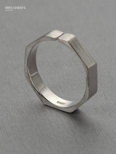 Mrs.Shen 925 sterling silver ring, Geometric Heptagon ring,minimalist…