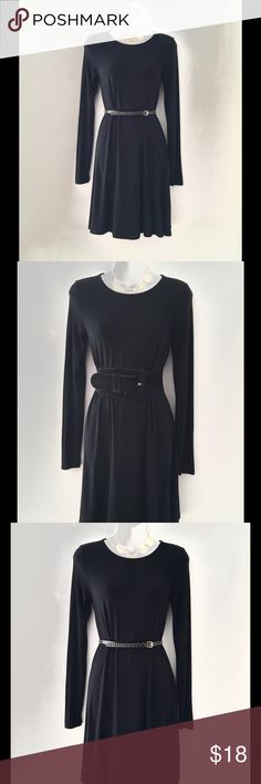 """LITTLE BLACK JERSEY DRESS SZ XS 💞 Long sleeve little black dress Size-XS Material-Rayon, Spandex Viscose Elasthanne Length from front collar-30"""" Circumference of bottom hem-80"""" Armhole-17"""" Sleeve length from shoulder seam-27"""" ***BELTS NOT INCLUDED Dresses Long Sleeve"""