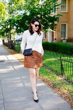 8.15 suede season (West & Lou sweater + Nordstrom faux suede skirt + Ivanka Trump flats + Kate Spade crossbody + Karen Walker sunnies + Laura Mercier 'creamsicle' lip parfait)