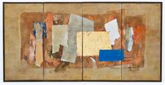 Lot 479- Paul Horiuchi (1906-1999 Washington) Abstract 4-Panel Hanging Screen Casein Collage 36''x70''. Museum quality work with polychrome and gold foil torn applied paper. Signed l.r. Slight tearing in-between panels. One of the finest works we have ever offered by this Japanese American master of collage.