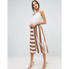 ASOS Mixed Stripe Culotte Trousers (315 CNY) ❤ liked on Polyvore featuring pants, capris, multi, high-waist trousers, wide leg pants, cropped pants, striped pants and high waisted striped pants