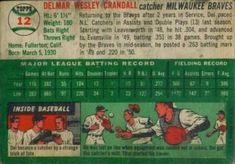 1954 Topps #12 Del Crandall Back