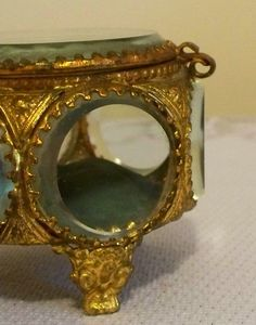French Ormolu Bevelled Glass Jewelry Casket