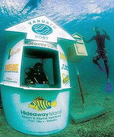 Vanuatu Post's Underwater Post Office, found just off Hideaway Island near Port Vila, has quickly become one of the busiest post offices for postcards in the world!    email info@surething.com for more information!