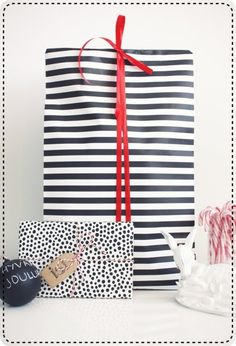 black and white wrapping paper - like the contrast with the red
