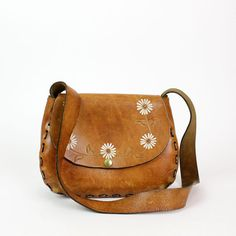 daisy tooled leather purse / big hippie hobo bag / floral pattern
