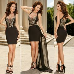 $44.99 Gold Embroidery Long Tail Belted Little Black Party Dress
