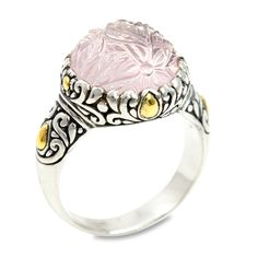 "Carved Rose Quartz Ring Set in Sterling Silver & 18K Gold Accents ""Dar | Cirque Jewels"