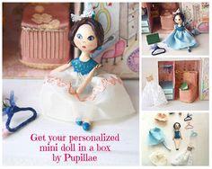 Mini art doll dollhouse box handpainted diorama case with