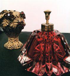 Rare Red Czechoslovakian Cut Crystal Glass Perfume Bottle