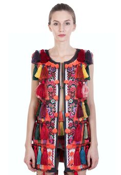 """Collection """"The Happy Ensemble""""Digitally printed jacket with vegetal silk lining. A contemporary reinterpretation of the Romanian Traditional tassel Kimono Top, Cover Up, Silk, Summer Dresses, Boho, Happy, How To Wear, Fashion Design, Shopping"""