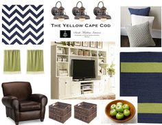 The Yellow Cape Cod: Navy and Lime Family Room - Leather Sofa, Navy Area Rug, Lime Throw Rug, Solid Navy/Gray/White pillows, industrial lighting, baskets, chevron, gray walls, white entertainment unit