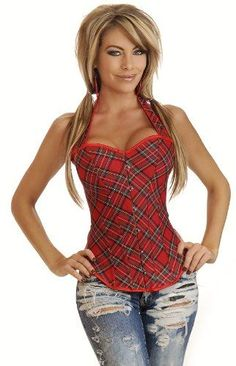 690c0e7a65d Amazon.com  Daisy Corsets Red Plaid Halter Corset Top (3X)  Adult Exotic  Corsets  Clothing