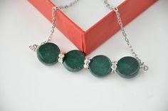 emerald green  necklace  FREE shipping  swarovski via Etsy