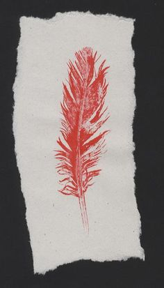 I like this mono print. It is inspirational as it is very simple, but looks really nice. Red Feather, Feather Art, Textile Prints, Textile Art, Art Prints, Gelli Printing, Screen Printing, Mono Print, Simple Line Drawings