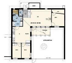 Esittelyssä: Avara ja valoisa kaupunkikoti- Kotisi Tekijä - Talosanomat One Storey House, House Blueprints, Modern House Plans, Case, Future House, Bungalow, Sims, New Homes, House Ideas