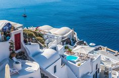 Save Time and Money with a Santorini Package Deal! Santorini perfectly illustrates why tourists adore the Greek islands. The vivid hues of the sea and sky are Greece Vacation, Greece Travel, Travel News, Budget Travel, Travel Tourism, Travel Trip, Travel Info, Beach Travel, Travel Europe