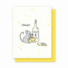 "Celebrate Mouse - 4 Pack-  This clever mouse celebrates in style with a wedge of cheese and "" Mousecat Vintage "" printed on speckled yellow Grow a Note paper.  This unique card is so versatile and perfect for a ...  Birthday, Graduation, Promotion, Or any reason to Celebrate  Each card is embedded with a colorful array of Wildflower seeds."